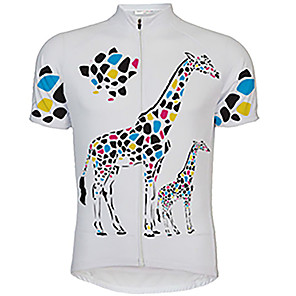 cheap Cycling Jerseys-21Grams Men's Short Sleeve Cycling Jersey Yellow White Animal Giraffe Bike Jersey Top Mountain Bike MTB Road Bike Cycling UV Resistant Breathable Quick Dry Sports Clothing Apparel / Stretchy