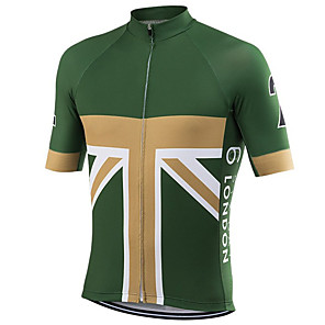 cheap Cycling Jerseys-21Grams Men's Short Sleeve Cycling Jersey Green / Yellow UK National Flag Bike Jersey Top Mountain Bike MTB Road Bike Cycling UV Resistant Breathable Quick Dry Sports Clothing Apparel / Stretchy