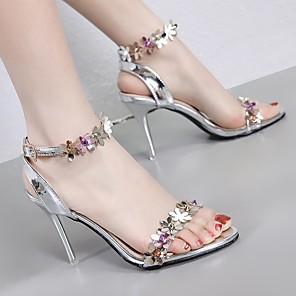 cheap Women's Heels-Women's Heels Flat Heel Open Toe PU Summer Pink / White / Silver