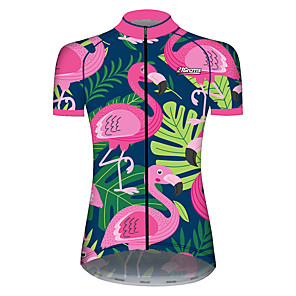 cheap Cycling Jersey & Shorts / Pants Sets-21Grams Women's Short Sleeve Cycling Jersey Spandex Polyester Pink+Green Flamingo Animal Floral Botanical Bike Jersey Top Mountain Bike MTB Road Bike Cycling UV Resistant Breathable Quick Dry Sports