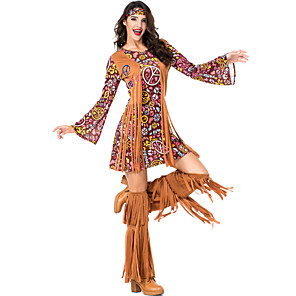 cheap Historical & Vintage Costumes-Hippie Diva Disco 1980s Dress Outfits Headwear Women's Tassel Fringe Costume Burgundy Vintage Cosplay Party Long Sleeve