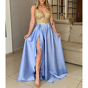 cheap Bridesmaid Dresses-A-Line Gold Blue Prom Formal Evening Dress V Neck Sleeveless Floor Length Charmeuse Polyester with Sequin Split 2020