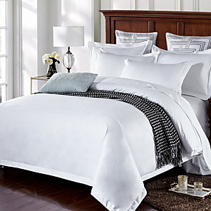cheap Throw Pillow Covers-Duvet Cover Sets 4 Piece Linen / Cotton Solid Colored White Printed Simple