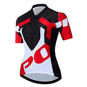cheap Cycling Jerseys-21Grams Women's Short Sleeve Cycling Jersey Black / Red Bike Jersey Top Mountain Bike MTB Road Bike Cycling UV Resistant Breathable Quick Dry Sports Clothing Apparel / Stretchy / Race Fit