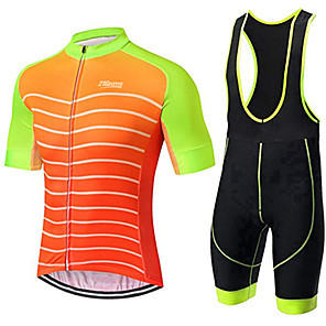 cheap Cycling Jersey & Shorts / Pants Sets-21Grams Men's Short Sleeve Cycling Jersey with Bib Shorts Orange / Black Stripes Bike Clothing Suit UV Resistant Breathable 3D Pad Quick Dry Sweat-wicking Sports Solid Color Mountain Bike MTB Road