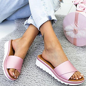 cheap Women's Boots-Women's Slippers & Flip-Flops Low Heel Round Toe PU Summer Purple / Pink