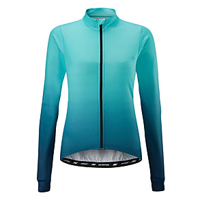 cheap Cycling Jerseys-21Grams Women's Long Sleeve Cycling Jersey Orange Blue Gradient Bike Jersey Top Mountain Bike MTB Road Bike Cycling UV Resistant Breathable Quick Dry Sports Clothing Apparel / Stretchy / Race Fit
