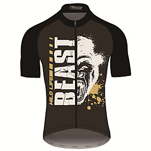 cheap Cycling Jerseys-21Grams Men's Short Sleeve Cycling Jersey Black / White Animal Bike Jersey Top Mountain Bike MTB Road Bike Cycling UV Resistant Breathable Quick Dry Sports Clothing Apparel / Stretchy / Race Fit