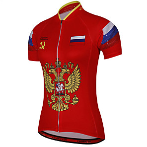 cheap Cycling Jerseys-21Grams Women's Short Sleeve Cycling Jersey Red / Yellow Russia National Flag Bike Jersey Top Mountain Bike MTB Road Bike Cycling UV Resistant Breathable Quick Dry Sports Clothing Apparel / Stretchy