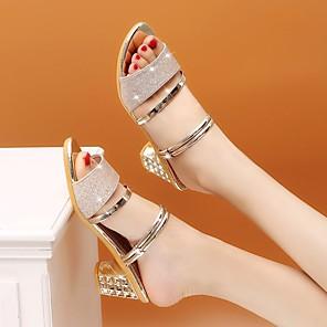 cheap Women's Sandals-Women's Sandals Summer Block Heel Open Toe Daily PU Black / Gold / Silver