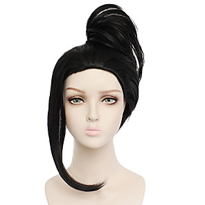cheap Tattoo Stickers-Synthetic Wig MOMO Straight Halloween Asymmetrical Wig Medium Length Natural Black Synthetic Hair 20 inch Women's Best Quality Black