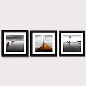 cheap Framed Arts-Framed Art Print Framed Set 3 - Calm Sea Level Scenery PS Illustration Wall Art