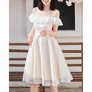 cheap Bridesmaid Dresses-A-Line Off Shoulder Knee Length Chiffon Bridesmaid Dress with Tier