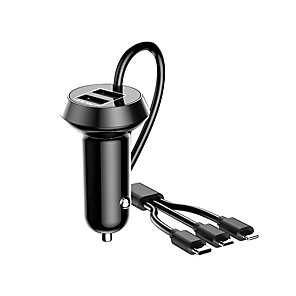 cheap Car DVD Players-Car Charger 5W /3.4A 3 USB Quick Charge Car Charger Adapter with Cable -Black