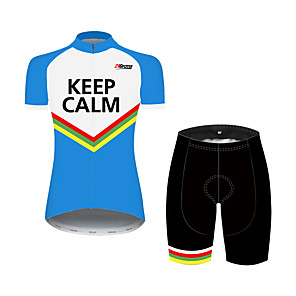 cheap Cycling Jersey & Shorts / Pants Sets-21Grams Women's Short Sleeve Cycling Jersey with Shorts Black / Blue Stripes Bike Clothing Suit Breathable 3D Pad Quick Dry Ultraviolet Resistant Sweat-wicking Sports Solid Color Mountain Bike MTB