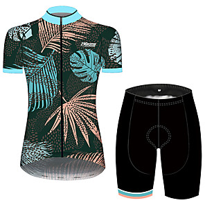 cheap Cycling Jersey & Shorts / Pants Sets-21Grams Women's Short Sleeve Cycling Jersey with Shorts Green / Yellow Polka Dot Leaf Floral Botanical Bike Clothing Suit Breathable 3D Pad Quick Dry Ultraviolet Resistant Sweat-wicking Sports Polka