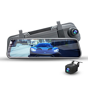 cheap Car DVD Players-2K Image Quality Streaming Media Double Lens Front and Rear Night Vision Reverse Image Car DVR 170 Degree Wide Angle CMOS 10 inch IPS Dash Cam with GPS / Night Vision / G-Sensor 4 infrared LEDs
