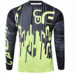 cheap Cycling Jerseys-CAWANFLY Men's Long Sleeve Cycling Jersey Downhill Jersey Dirt Bike Jersey Winter Polyester Black Patchwork Geometic Novelty Bike Jersey Top Mountain Bike MTB Breathable Quick Dry Sweat-wicking Sports