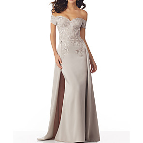 cheap Cycling Jerseys-A-Line Elegant Sexy Engagement Formal Evening Dress Off Shoulder Sleeveless Sweep / Brush Train Polyester with Beading Overskirt Appliques 2020