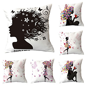 cheap Sale-6 pcs Polyester Pillow Cover, Art Deco Floral Print Lovers Boho Square Traditional Classic