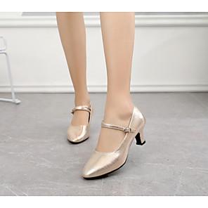 cheap Latin Shoes-Women's Dance Shoes Modern Shoes Heel Buckle Cuban Heel Black / Red / khaki / Performance / Practice