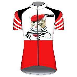 cheap Cycling Jerseys-21Grams Women's Short Sleeve Cycling Jersey Red and White Cat Animal Bike Jersey Top Mountain Bike MTB Road Bike Cycling UV Resistant Breathable Quick Dry Sports Clothing Apparel / Stretchy