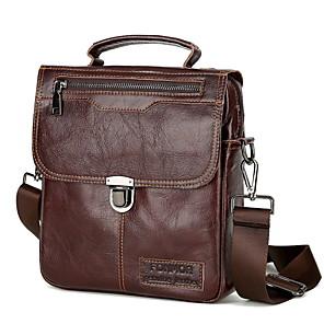 cheap Men's Bags-Men's Zipper Nylon Top Handle Bag Solid Color Dark Brown