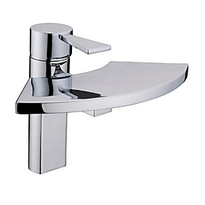 cheap Bathroom Sink Faucets-Bathroom Sink Faucet - Waterfall / Widespread Electroplated Centerset Single Handle One HoleBath Taps
