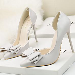 cheap Women's Heels-Women's Heels Stiletto Heel Pointed Toe PU Spring & Summer Black / White / Yellow