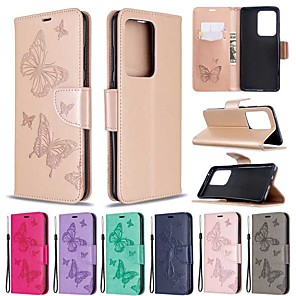 cheap Samsung Case-Case For Samsung Galaxy S20 Ultra / S20 Plus / S10 Plus Wallet / Card Holder / with Stand Full Body Cases  Butterfly PU Leather Case For Samsung S9 / S9 Plus / S10E /S10 / S20