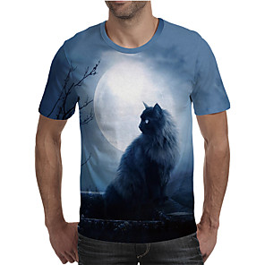 cheap Mobile Phone Sterilizer-Men's Plus Size 3D Graphic Pleated Print T-shirt Street chic Exaggerated Daily Going out Round Neck Rainbow / Short Sleeve / Animal