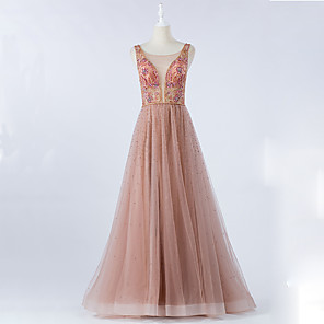 cheap Prom Dresses-A-Line Luxurious Pink Prom Formal Evening Dress Illusion Neck Sleeveless Floor Length Tulle with Crystals Beading 2020