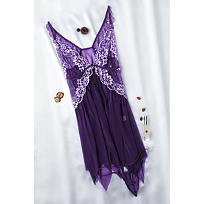 cheap Women's Boots-Women's Lace Super Sexy Babydoll & Slips / Suits Nightwear Solid Colored / Embroidered Red Purple Lavender L XL XXL / Deep V