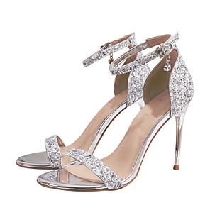 cheap Wedding Shoes-Women's Sandals Stiletto Heel Open Toe Buckle / Sequin Synthetics Sweet Walking Shoes Spring &  Fall / Spring & Summer Silver / Party & Evening