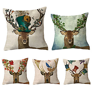 cheap Throw Pillow Covers-Set of 5 Polyester Pillow Cover, Retro Animal Vintage Christmas Square Traditional Classic Throw Pillow