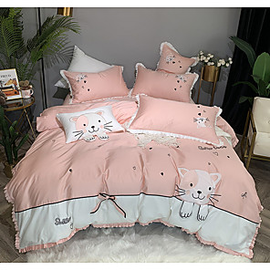 cheap Duvet Covers-Duvet Cover Sets 4 Piece Cotton Cartoon Pink Printed Contemporary