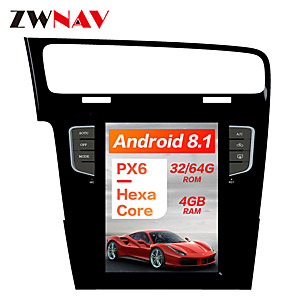 cheap Car DVD Players-ZWNAV 10.4 inch Android 8.1 1DIN Tesla style DSP PX6 Car GPS Navigation In-Dash Car DVD Player Car multimedia player radio tape recorder For Volkswagen Golf 7 2010-2018