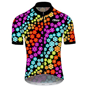 cheap Cycling Jerseys-21Grams Men's Women's Short Sleeve Cycling Jersey Black / Red Floral Botanical Bike Jersey Top Mountain Bike MTB Road Bike Cycling UV Resistant Breathable Quick Dry Sports Clothing Apparel / Stretchy
