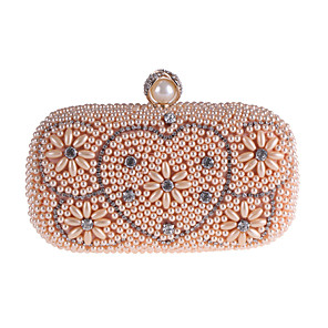 cheap Clutches & Evening Bags-Women's Crystals / Pearls Polyester Evening Bag Solid Color Black / White / Champagne