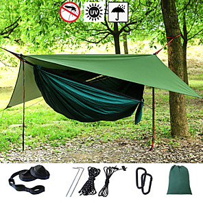 cheap Camping Furniture-Camping Hammock with Mosquito Net Hammock Rain Fly Outdoor Portable Sunscreen Breathable Anti-Mosquito Ultra Light (UL) Parachute Nylon with Carabiners and Tree Straps for 2 person Camping / Hiking