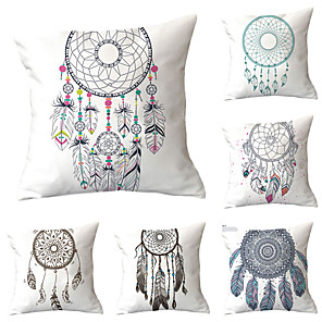 cheap Throw Pillow Covers-Set of 6 Throw Pillow Simple Classic 45*45 cm Cushion Vintage Circle Cover Sofa Home Decor Throw Pillow Case