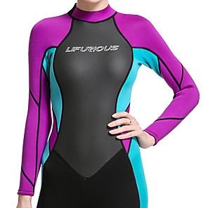 cheap Wetsuits, Diving Suits & Rash Guard Shirts-Women's Full Wetsuit 3mm SCR Neoprene Diving Suit Thermal / Warm Stretchy Long Sleeve Back Zip - Diving Water Sports Patchwork Autumn / Fall Spring Summer / Winter / High Elasticity
