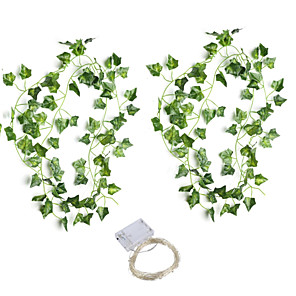 cheap LED String Lights-30LED 2*210cm Simulation Rattan Wall Hanging Ornament Artificial Plants Creeper Vine Plastic Green Leaf Ivy DIY Wedding Garland Decor