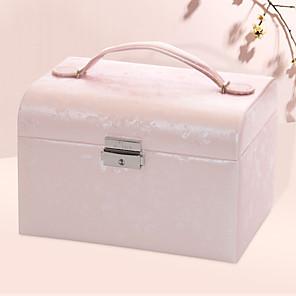 cheap Accessories-Jewelry Box - Leather Light Blue, Beige, White 20 cm 15.5 cm 13.5 cm / Women's