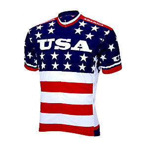 cheap Cycling Jersey & Shorts / Pants Sets-21Grams Men's Short Sleeve Cycling Jersey Spandex Polyester Red+Blue American / USA Stars National Flag Bike Jersey Top Mountain Bike MTB Road Bike Cycling UV Resistant Breathable Quick Dry Sports