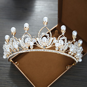 cheap Hair Jewelry-Women's Tiaras For Wedding Party Evening Prom Festival Art Deco Alloy Golden 1pc