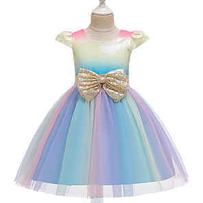 cheap Movie & TV Theme Costumes-Unicorn Dress Flower Girl Dress Girls' Movie Cosplay A-Line Slip Cosplay Purple / Pink / Light Blue Dress Halloween Carnival Masquerade Tulle Polyester Sequin