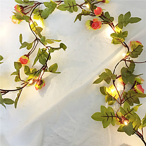 cheap LED String Lights-2.2M 20Leds Artificial Rose Flowers Leaves Vine String Lights AA Battery Power Hanging Copper Wire Garland Light For Wedding Party DIY Decoration Lighting