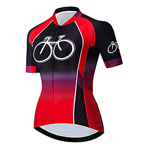 cheap Triathlon Clothing-21Grams Women's Short Sleeve Cycling Jersey Black / Red Pink Gradient Bike Jersey Top Mountain Bike MTB Road Bike Cycling UV Resistant Breathable Quick Dry Sports Clothing Apparel / Stretchy