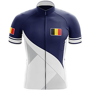cheap Cycling Jerseys-21Grams Men's Short Sleeve Cycling Jersey Blue / White Belgium National Flag Bike Jersey Top Mountain Bike MTB Road Bike Cycling UV Resistant Breathable Quick Dry Sports Clothing Apparel / Stretchy
